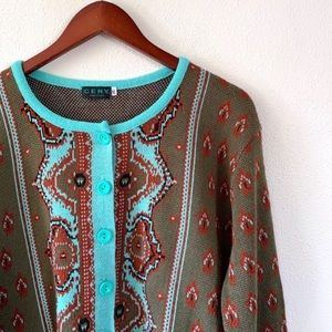 Vintage Ceny Blue Green Knit Paisley Cardigan